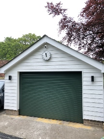 Green garage door